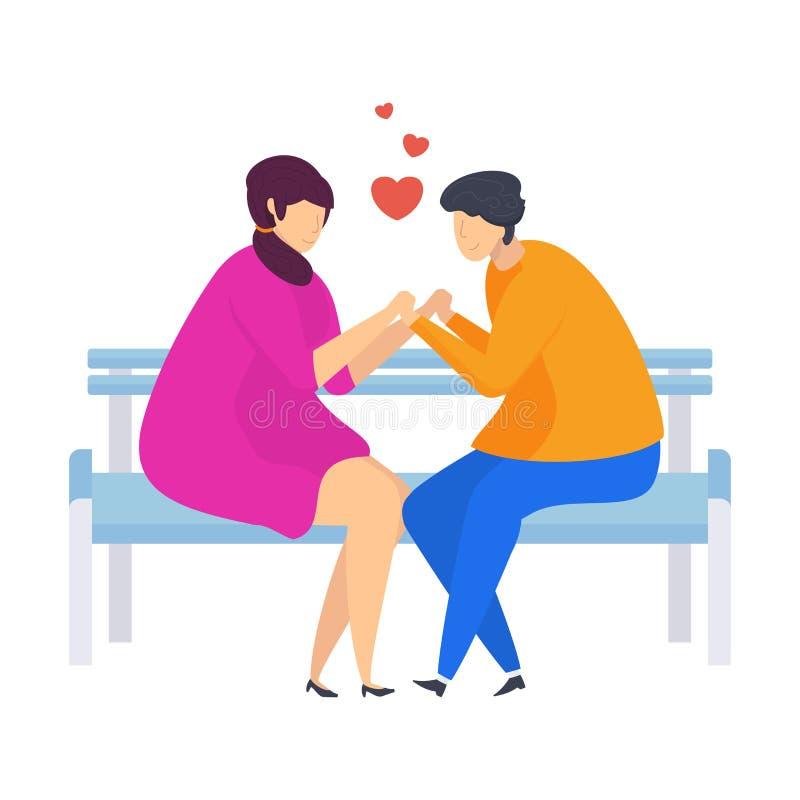 Szczęśliwa para młodzi ludzie w miłości Charaktery dla walentynki royalty ilustracja