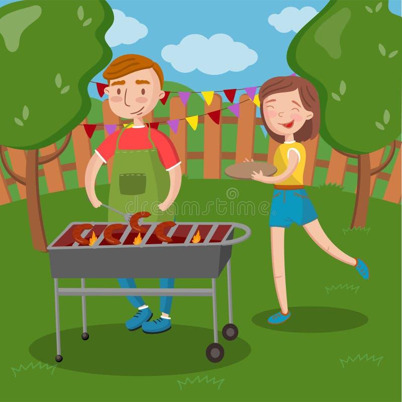 Szczęśliwa para ma plenerowe grilla, młodego człowieka i kobiety kulinarne kiełbasy z grilla wektoru ilustracją, ilustracji