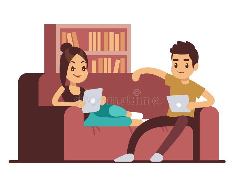 Szczęśliwa para na kanapie z pastylkami Młody człowiek i kobieta relaksuje w domu ilustracja wektor