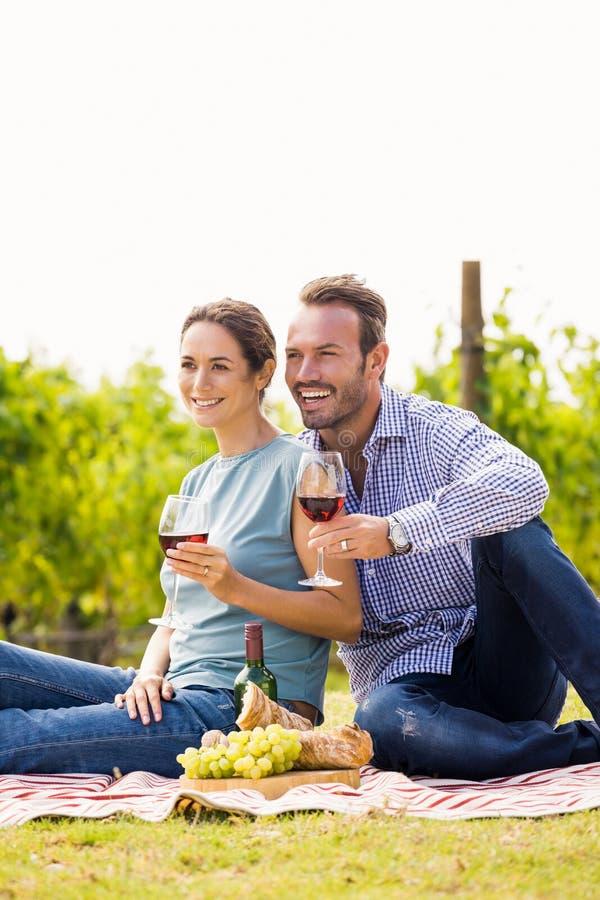 Szczęśliwa para patrzeje daleko od z wineglasses zdjęcie stock