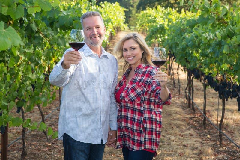 Szczęśliwa para przy wytwórnią win zdjęcie stock