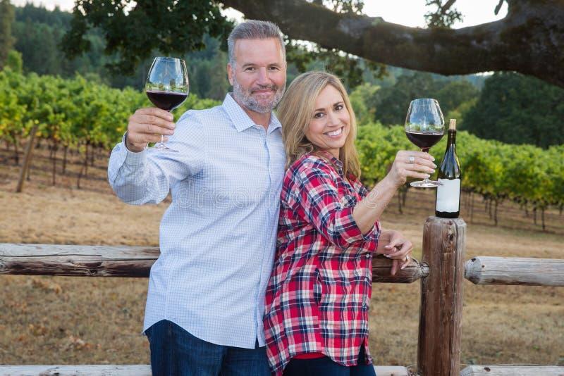 Szczęśliwa para przy wytwórnią win obraz royalty free