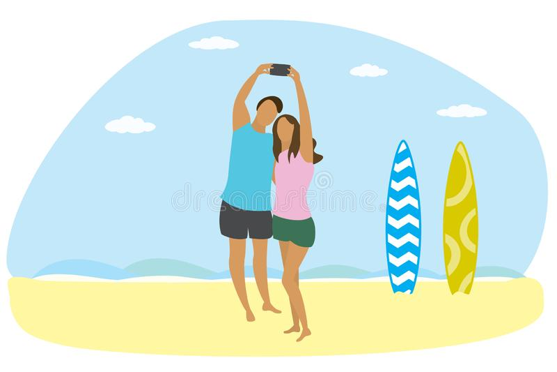 Szczęśliwa para zakochana na plaży oceanicznej i dwa deski surfingowe, ludzie biorą selfie royalty ilustracja