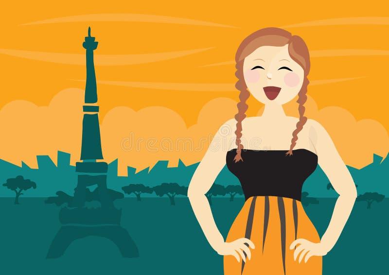 szczęśliwa Paris turysty kobieta royalty ilustracja