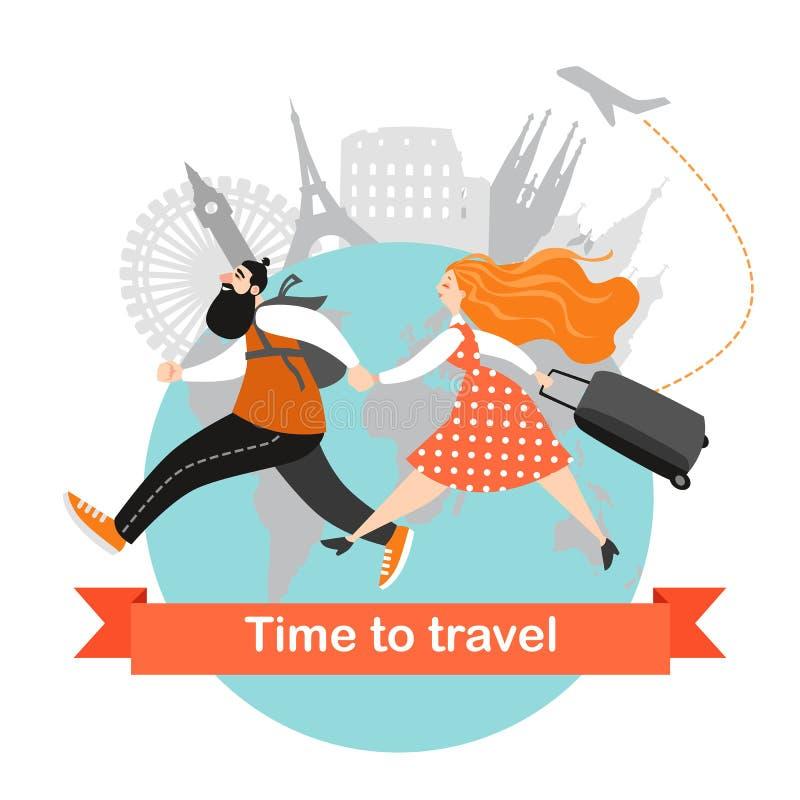 Szczęśliwa pary podróż wpólnie Postać z kreskówki z bagażu pośpiechem samolot ilustracji