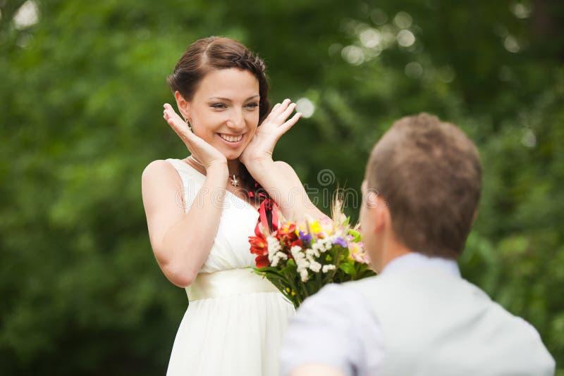 Szczęśliwa pary pozycja w zieleń parku, całowanie, ono uśmiecha się, śmiający się fotografia stock