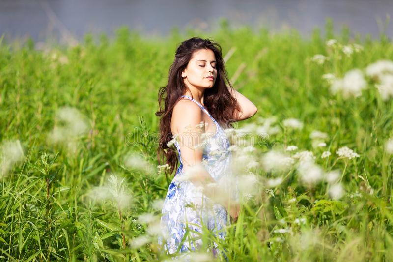 Szczęśliwa piękna dziewczyna wśród wildflowers zdjęcie stock