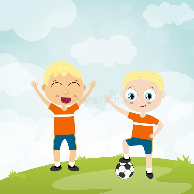 szczęśliwa piłka bawić się dzieciaków - dwa gracz futbolu ilustracji