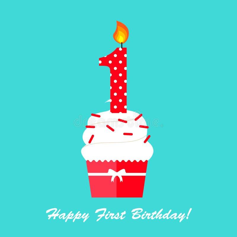 Szczęśliwa Pierwszy Urodzinowa rocznicy karta ilustracji