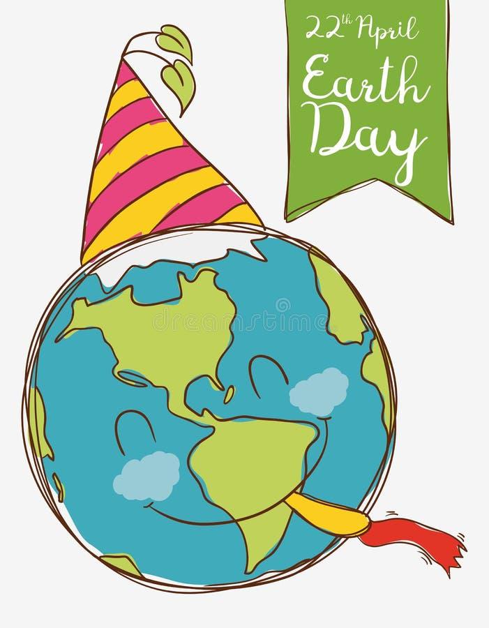 Szczęśliwa planeta Świętuje Ziemskiego dzień, Wektorowa ilustracja royalty ilustracja