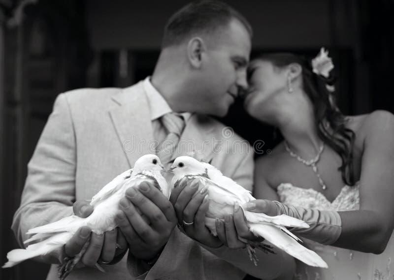 Szczęśliwa poślubiająca para obrazy royalty free