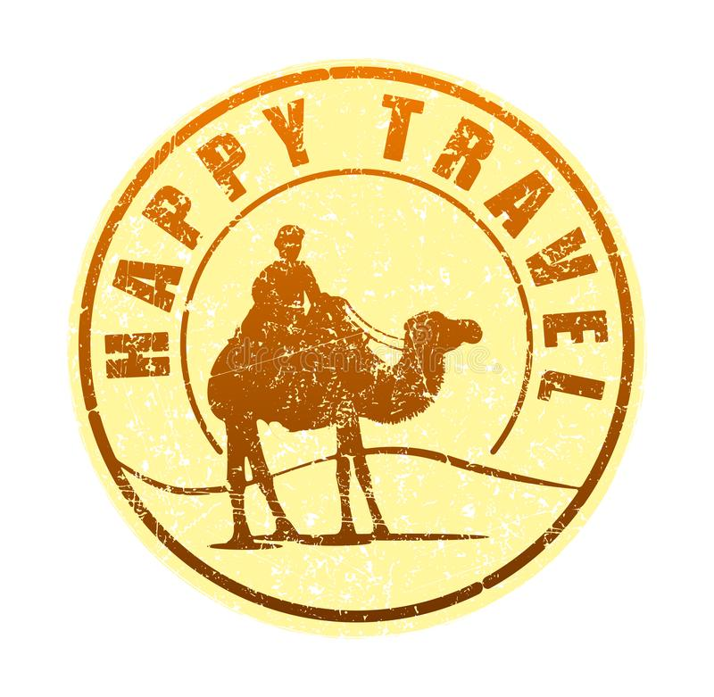 Szczęśliwa podróż - pieczątka w słońcu tonuje z sylwetką royalty ilustracja