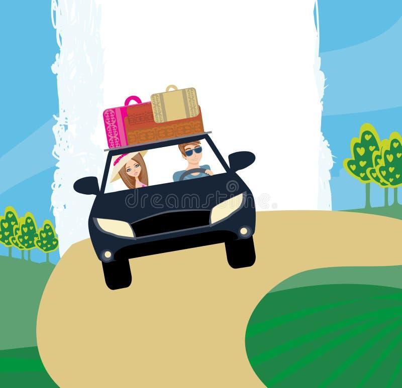 Szczęśliwa podróży para w samochodzie ilustracji