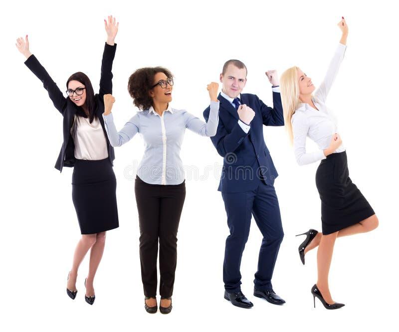 Szczęśliwa potomstwo grupa ludzie biznesu świętuje coś isola obrazy stock