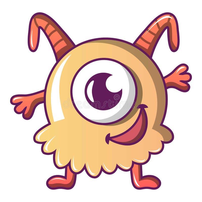 Szczęśliwa potwór ikona, kreskówka styl ilustracji