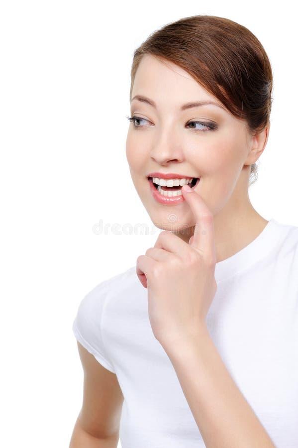 szczęśliwa przyglądająca boczna kobieta obrazy royalty free