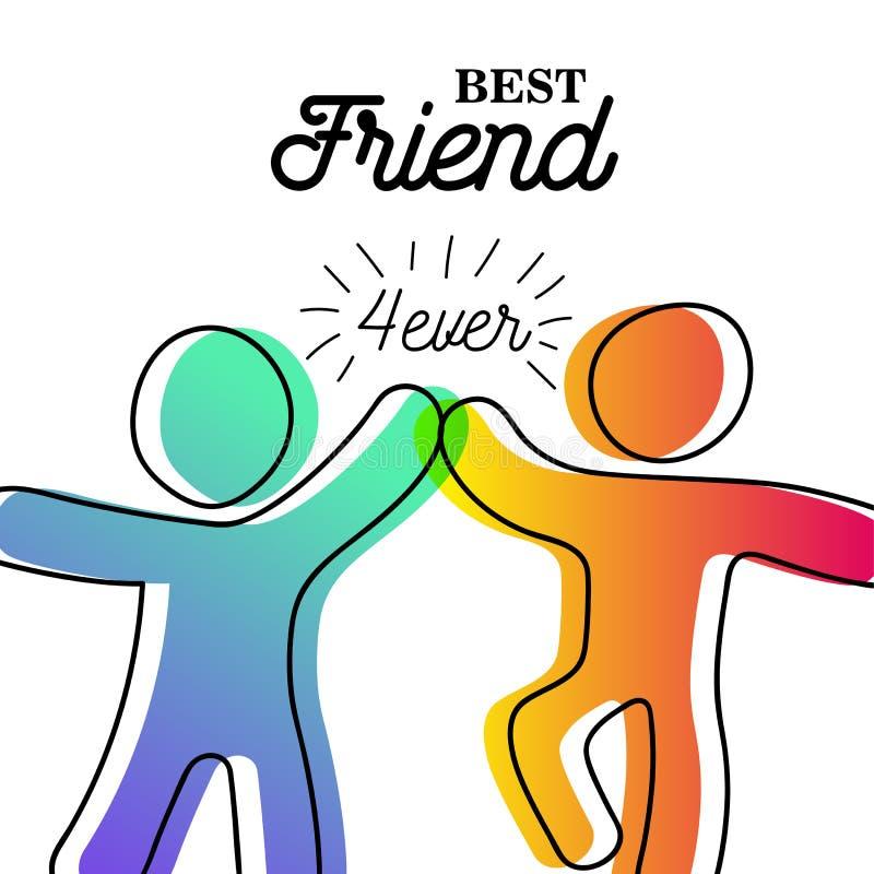 Szczęśliwa przyjaźń dnia karta przyjaciel wysocy pięć ilustracji