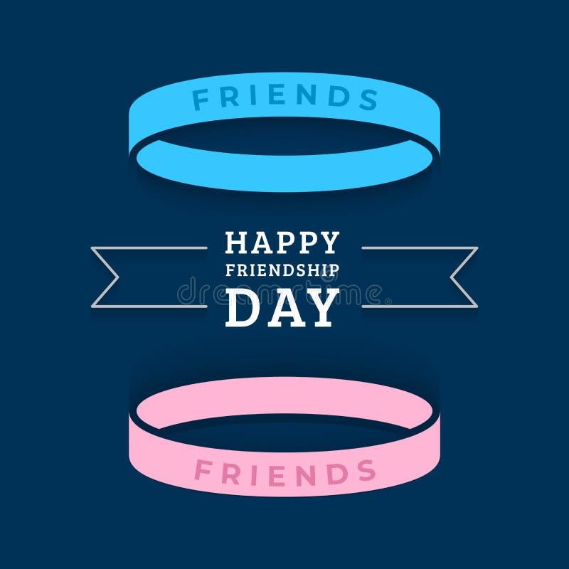 Szczęśliwa przyjaźń dnia kartka z pozdrowieniami z z dwa bransoletkami royalty ilustracja