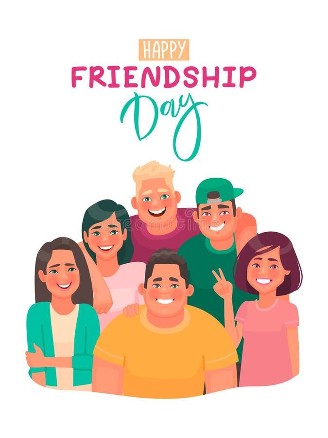 Szczęśliwa przyjaźń dnia kartka z pozdrowieniami z inskrypcją Przyjaciele ?ciska wp?lnie ilustracja wektor
