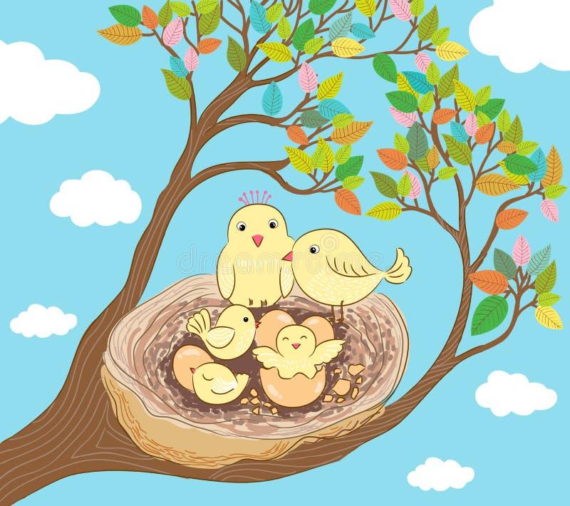 Szczęśliwa ptasiej rodziny ilustracja royalty ilustracja