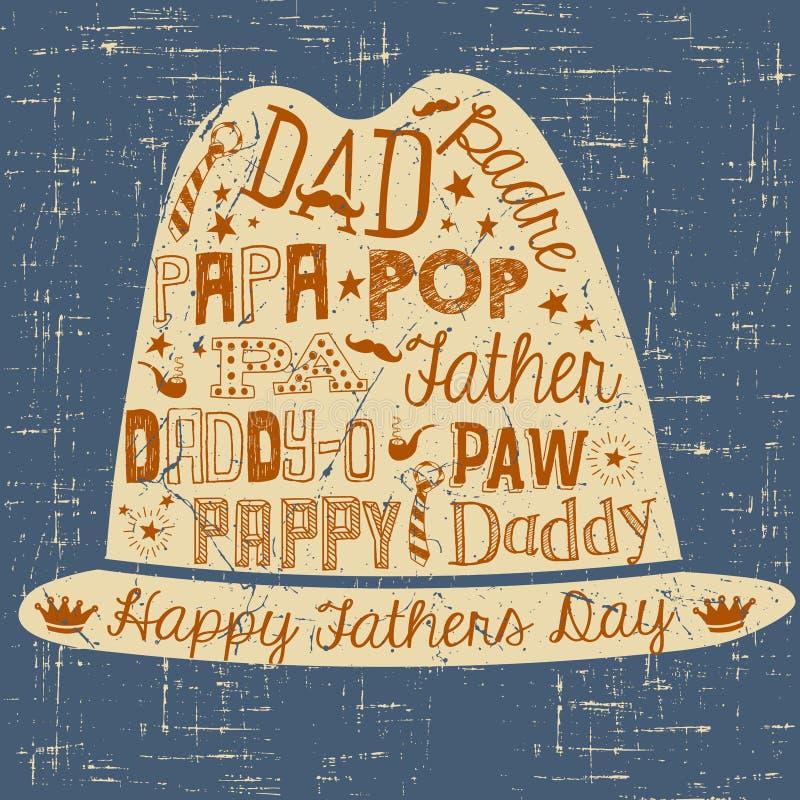 Szczęśliwa ręka rysująca ojca dnia karty ilustracja z kapeluszem ilustracja wektor