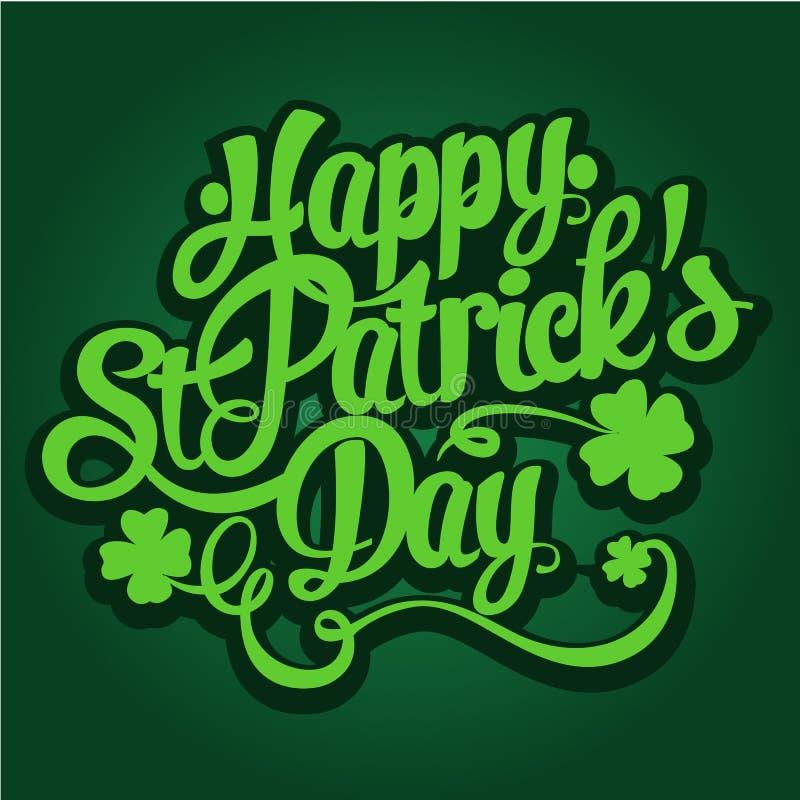 Szczęśliwa ręka rysująca St Patrick ` s dnia literowania projekta wektoru ilustracja royalty ilustracja