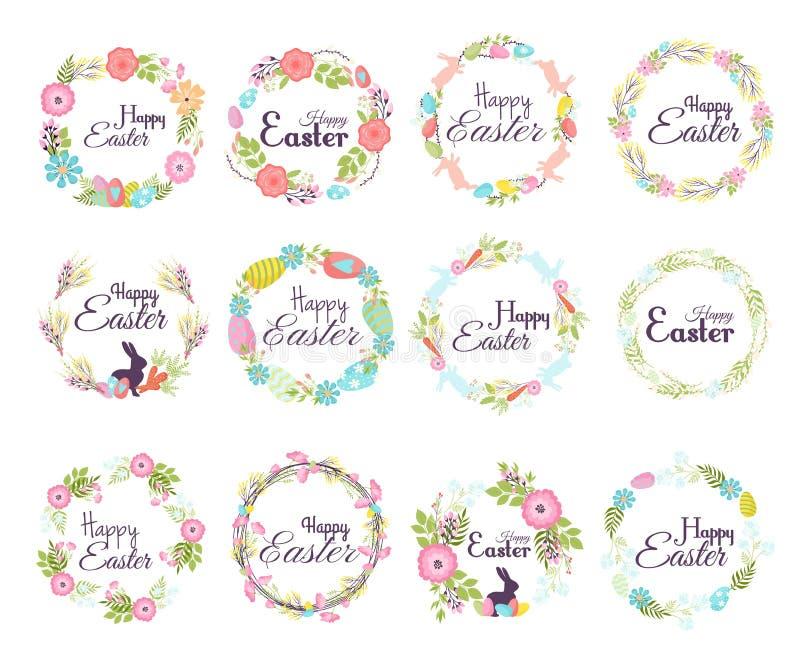 Szczęśliwa ręka rysujący Easter odznaki ręki literowania powitania dekoraci element i naturalna wianek wiosna kwitniemy wektor royalty ilustracja