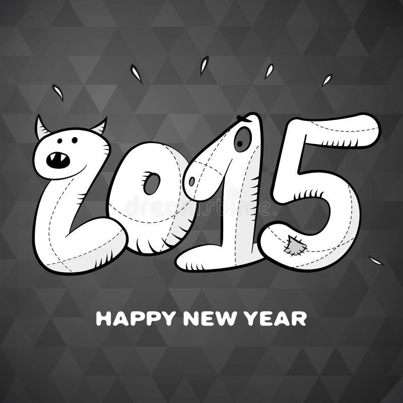 Szczęśliwa ręka rysujący nowego roku 2015 kartka z pozdrowieniami plakat ilustracja wektor