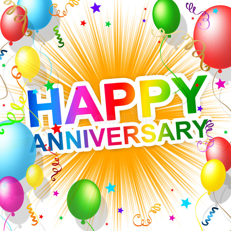 Szczęśliwa rocznica Znaczy powitania przyjęcia I gratulowanie royalty ilustracja