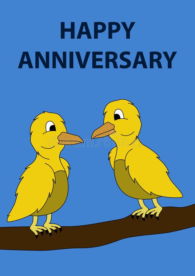 SZCZĘŚLIWA rocznicy karta z dwa żółtymi ptakami w drzewie royalty ilustracja