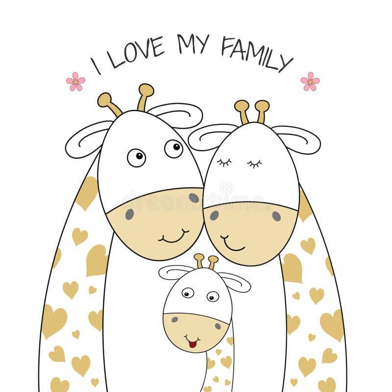 Szczęśliwa rodzina żyraf, mamy, taty i dziecka żyrafa, ilustracji
