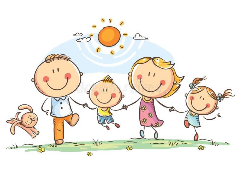 Szczęśliwa rodzina biega outdoors z dwa dziećmi ma zabawę ilustracja wektor