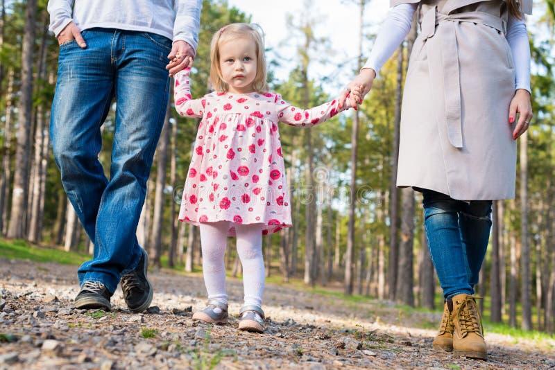 Szczęśliwa rodzina bierze spacer w parku, rodzinny mienie wręcza odprowadzenie wzdłuż forrest ścieżki wpólnie fotografia royalty free