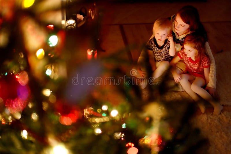 Szczęśliwa rodzina choinką fotografia stock