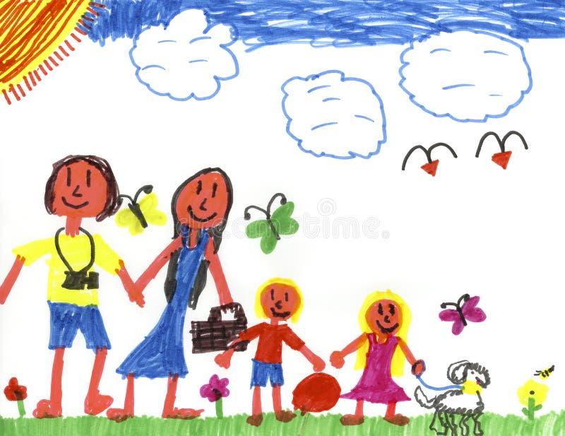 szczęśliwa rodzina happyland royalty ilustracja