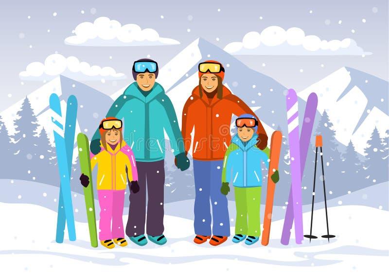 Szczęśliwa rodzina, mężczyzna, kobieta, chłopiec, dziewczyna skiiing w śnieżnych górach ilustracji