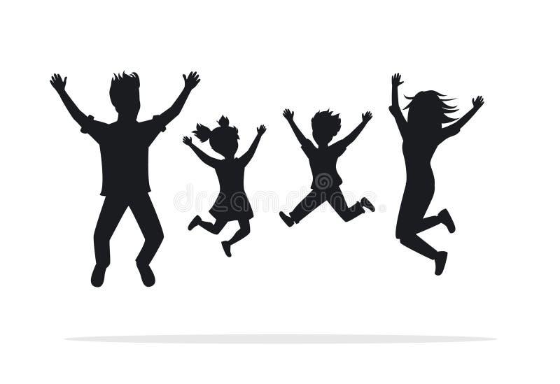 Szczęśliwa rodzina, mężczyzna, kobieta, chłopiec, dziewczyny doskakiwanie dla radości ilustracji