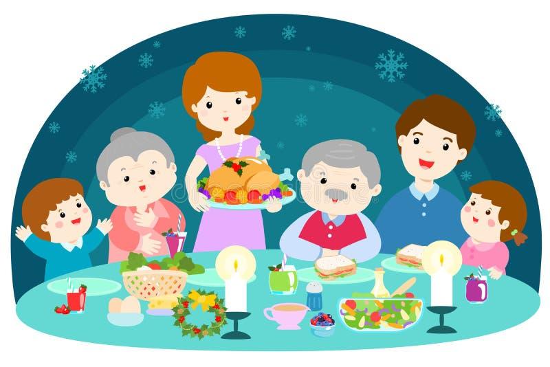 Szczęśliwa rodzina ma Bożenarodzeniowego gościa restauracji royalty ilustracja