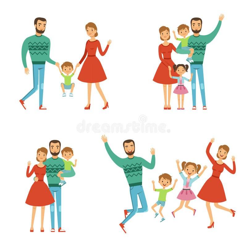 szczęśliwa rodzina Matka, ojciec i dzieciaki, Charaktery z uśmiechami w wektoru stylu royalty ilustracja