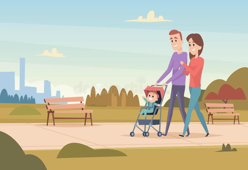 szczęśliwa rodzina Matkuje i ojcuje z dziecko miłości rodzinnej pary plenerowy bawić się z dzieciak chłopiec wektorowymi dziewczy ilustracji