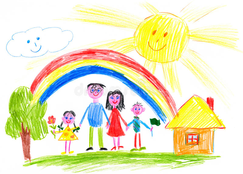 Szczęśliwa rodzina na łąkowym pobliskim domu ilustracja wektor