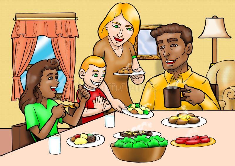 szczęśliwa rodzina na śniadanie ilustracji