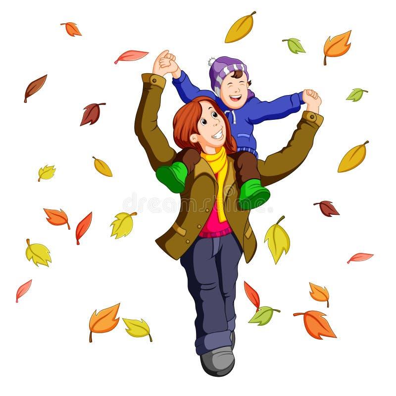 Szczęśliwa rodzina na jesieni bawić się z liśćmi wpólnie royalty ilustracja