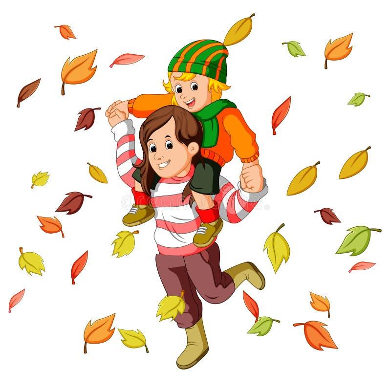 Szczęśliwa rodzina na jesieni bawić się z liśćmi wpólnie ilustracja wektor