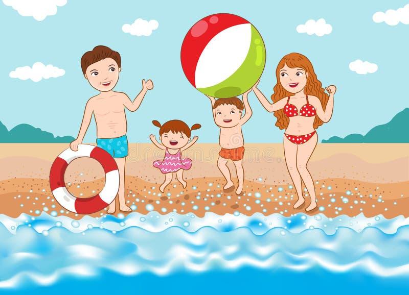 szczęśliwa rodzina na plaży ilustracja wektor