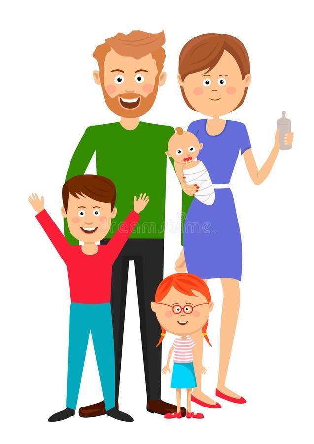 Szczęśliwa rodzina ojciec matki syna córka i dziecko stoi nad białym tłem ilustracja wektor
