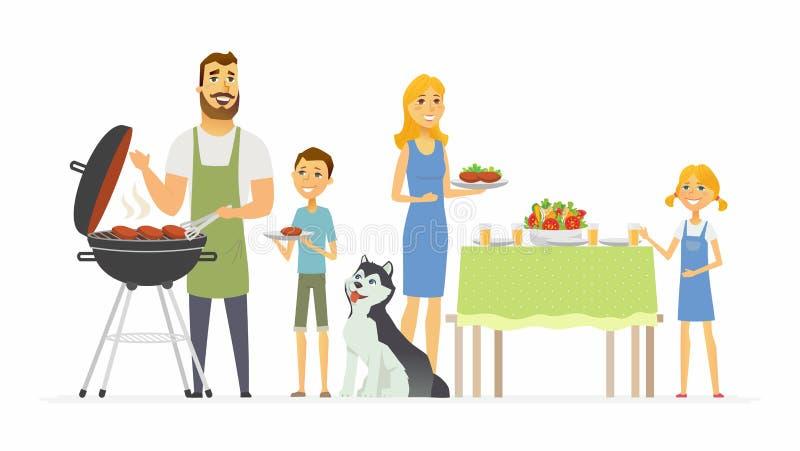 Szczęśliwa rodzina przy grillem - nowożytni kreskówka charakterów ilustracyjnych ludzie ilustracji