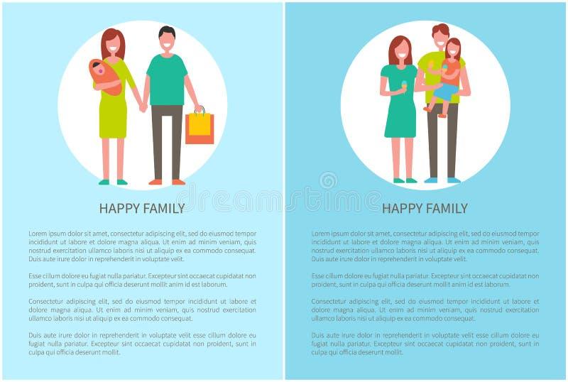Szczęśliwa rodzina Robi Wektorowych rodziców dziewczyny i royalty ilustracja