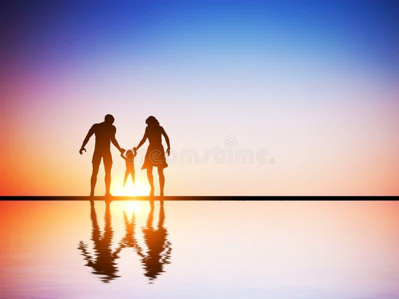 Szczęśliwa rodzina, rodzice i ich dziecko wpólnie, fotografia stock
