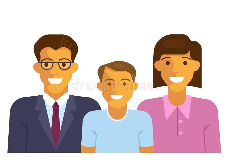 szczęśliwa rodzina się uśmiecha ilustracji